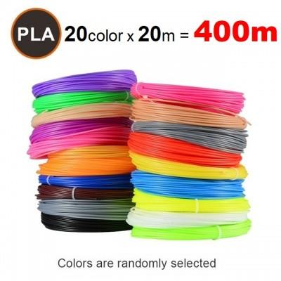 Набор пластика PLA для 3D ручек 400 метров (20 цветов по 20 метров)