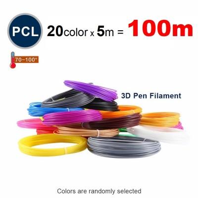 Набор пластика PCL для 3D ручек 100 метров (20 цветов по 5 метров)